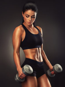 tan woman lifting dumbells